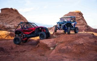 Honda Talon UTVs on red rocks