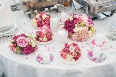 Decorated wedding table for a reception during wedding season at Sand Hollow Resort.